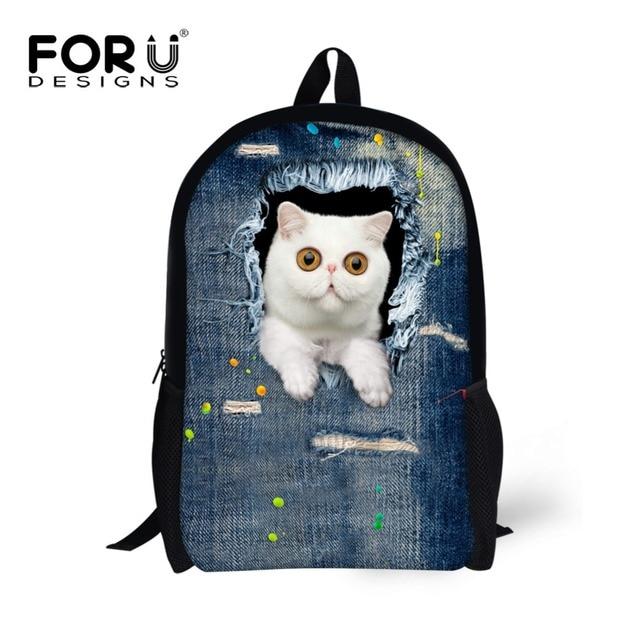 FORUDESIGNS New Style Denim Children Backbag for Children Cute Cat Head Kids Schoolbags 3D Cartoon Animal School Back pack