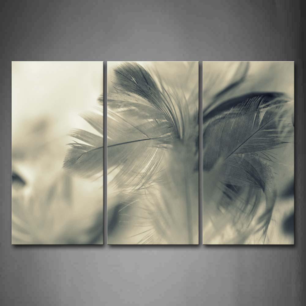 Encadrée mur Art photos gris plume toile impression Art moderne affiche avec cadre en bois pour salon maison bureau décor