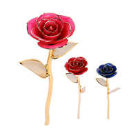 Valentine's Day 24k Gold Dipped Real Rose Elegant Flower Wedding Decor Artificial Flowers With Gift Box Home Decoration