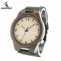 BOBO BIRD V B11 Natural Ebony Wood Men S Black Sandalwood Watch Genuine Leather Wristwatch Montre
