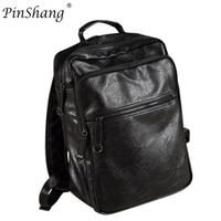 PinShang Men PU Leather Backpack Youth Travel Rucksack Big Capacity School Bag Male Laptop Business Shoulder Bag Black ZK28