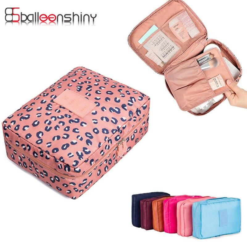 BalleenShiny Makeup Travel Organizer Toiletry Storage bag kits Zipper Wash Bag Pouch Cosmetics Closet Underwear Case Women Gril