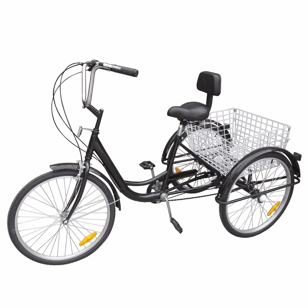 ship from usa 3 wheel 24 tricycle trike adult bike bicycle cruise 6 speed with basket white. Black Bedroom Furniture Sets. Home Design Ideas