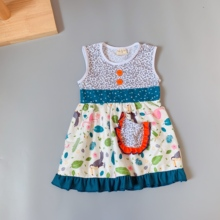 2019 Cotton Baby Girls dress Summer floral blue Sleeveless Infants & toddler Kids ruffles dresses for kids cute princess dress 2015 summer new stylish kids toddler girls princess dress sleeveless polka dots bowknot dress top quality cute