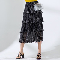 Women skirt Slim summer Dot printing Elastic waist Chiffon High waist Fold skirt Women 8813