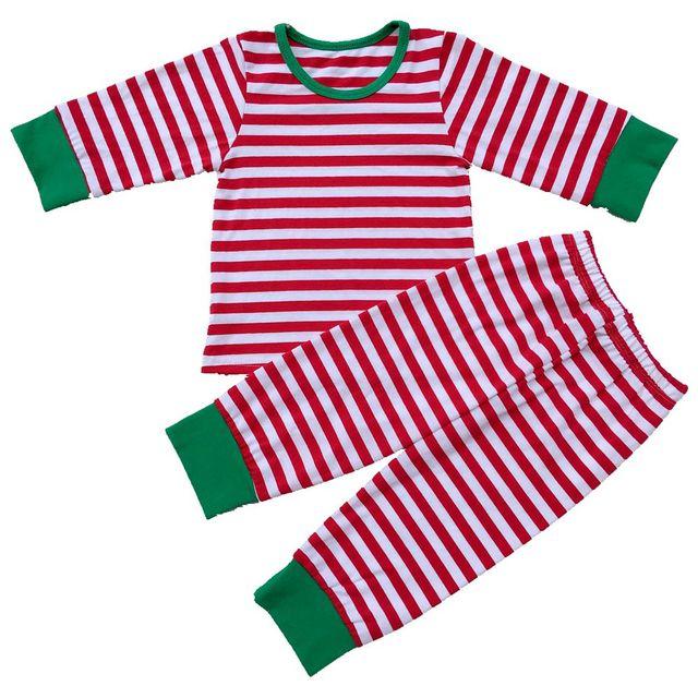 baby boys girls christmas pajamas kids long sleeve xmas pjs cotton pajamas children striped night wear - Girl Christmas Pajamas