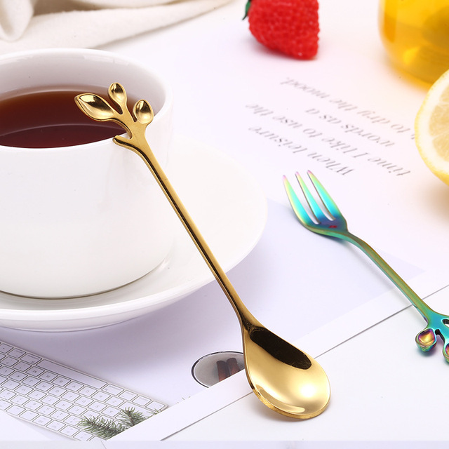 Creative Coffee Stirring Spoon Stainless Steel Music Theme Tea Stirring Spoon Small Ice Cream Dessert Scoop Creative Flatware