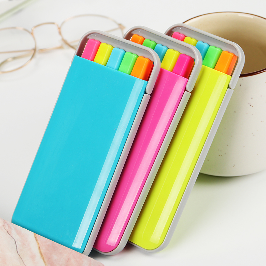 5PCS/pack Candy Colors Fluorescent Marker Pen Fragrance Highlighter Drawing Writing Watercolor Pen Stationery Set