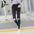 DayLook Autumn Pants Women Pencil Pants Skinny Ripped Distressed Ripped Bodycon Slim Fit Trousers High Waist Plus Size S-XXL
