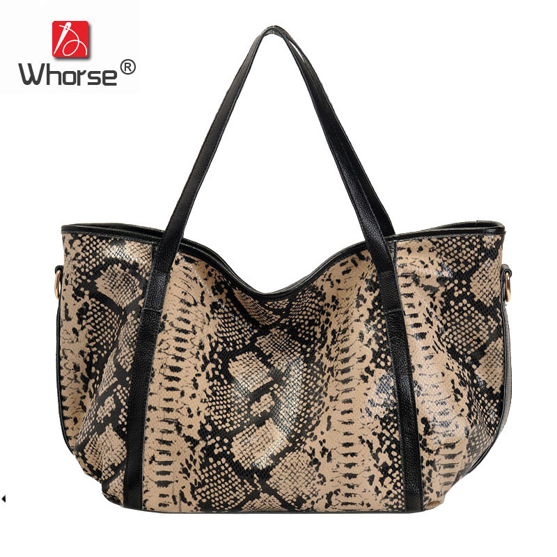 [WHORSE] Serpentine Design Genuine Real Leather Handbag Women Messenger Bags Square Crossbody Big Shoulder Bag Tote W2368 [whorse] brand luxury fashion designer genuine leather bucket bag women real cowhide handbag messenger bags casual tote w07190