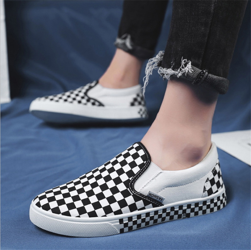 Mens Shoes Women and Mens Athletic Shoes Elastic Band Flat Heel Slip on Gird Pattern Sneaker Fashion