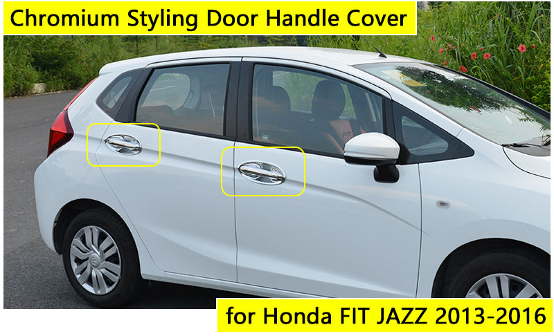 for Honda FIT JAZZ 2013 2016 Accessories Chrome Door Handle 2014 2015  Luxury No Rust Car Covers Stickers Car Styling-in Chromium Styling from ...