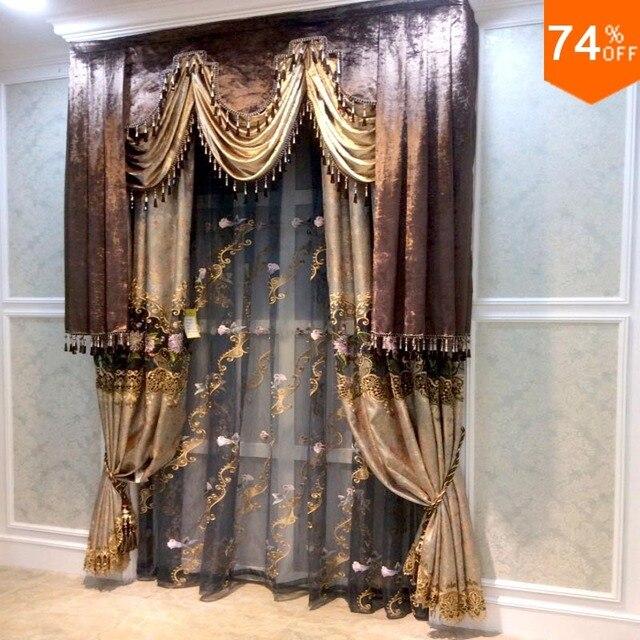 Marrón Valance beige Bordado oro flores cortinas comedor cortina ...