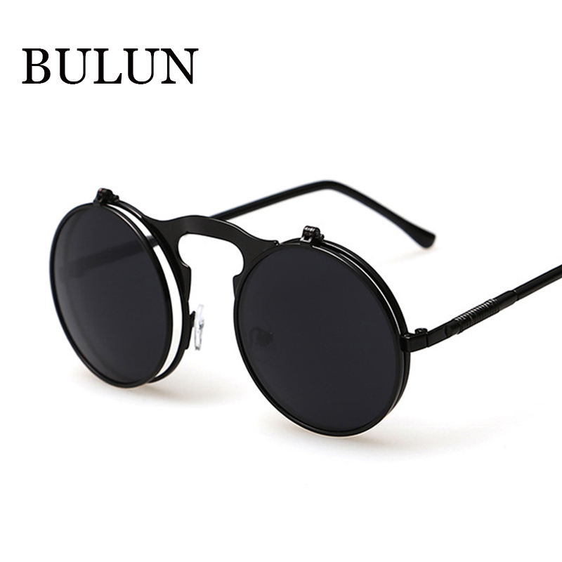 BULUN 2015 Retro Steampunk Round Sunglasses Women Brand Designer Vintage Metal Sun Glass Men Outdoor Oculos