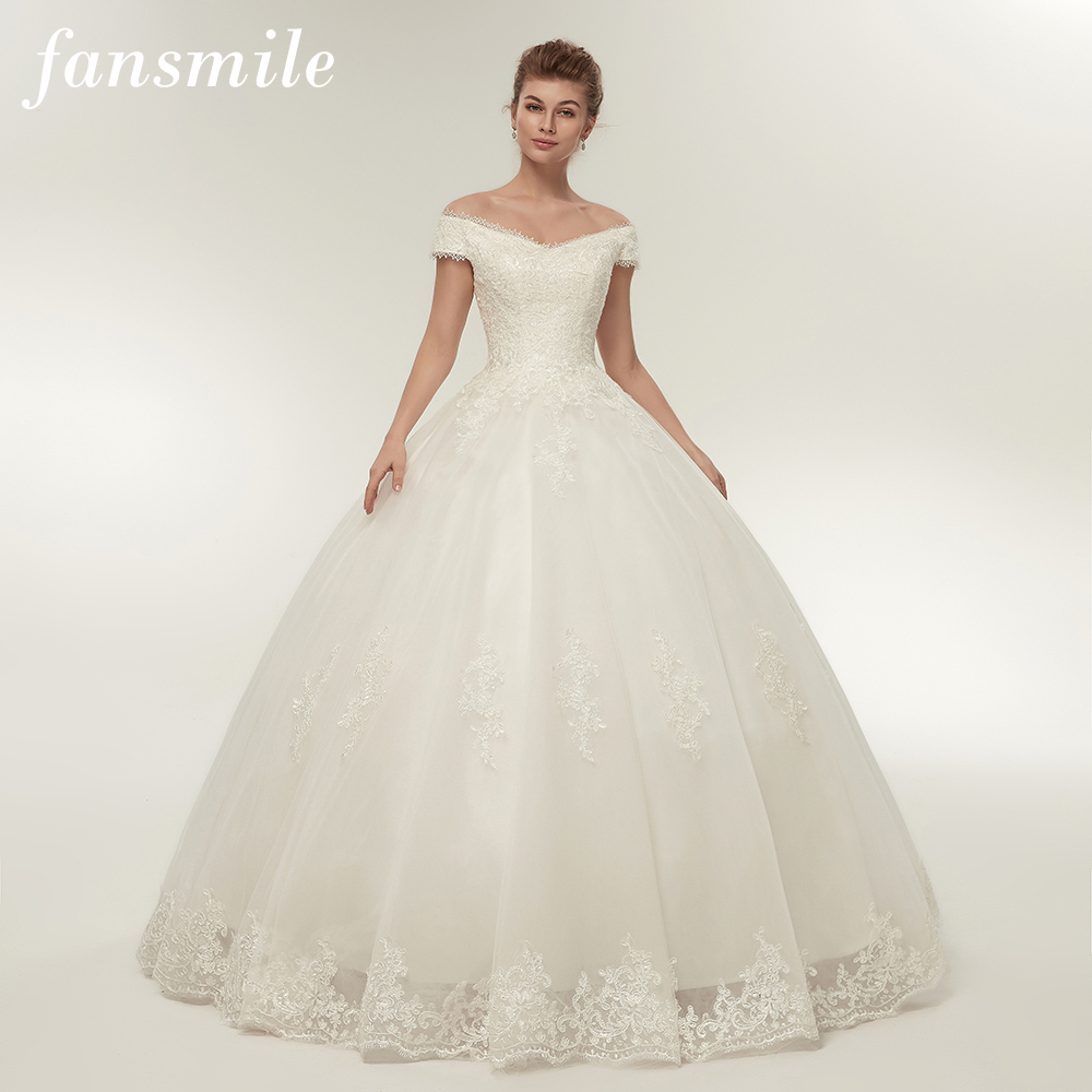 Fansmile Real Photo Simple Lace Up Ball Wedding Dresses