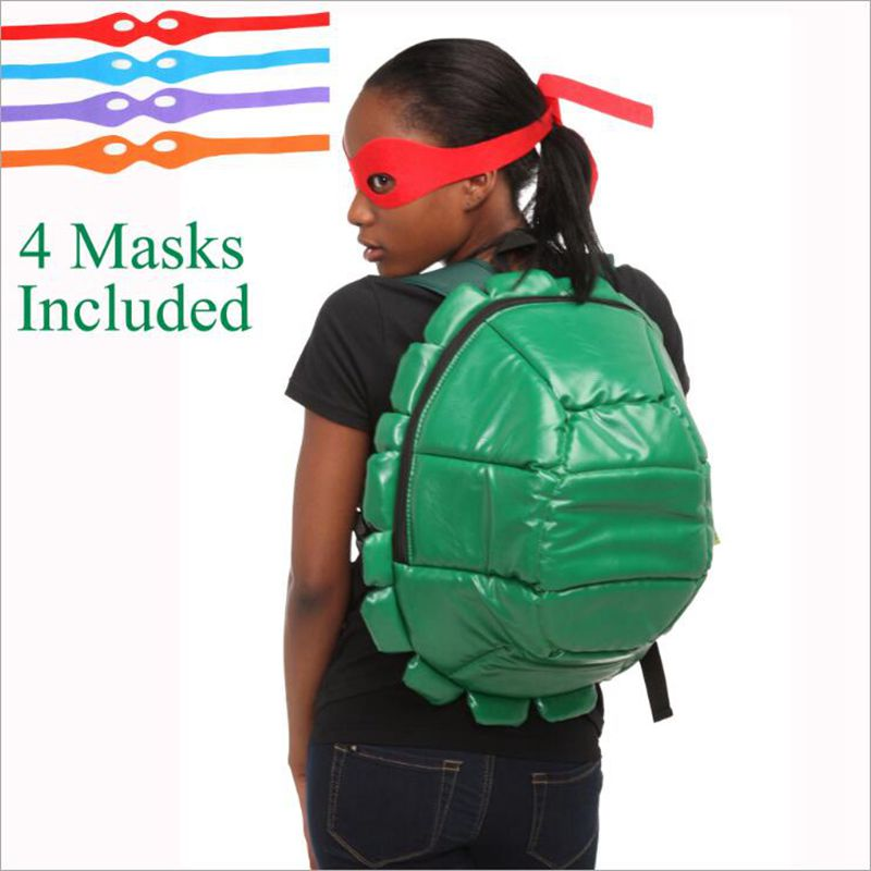 Teenage Mutant Ninja Turtles bag teenage mutant ninja turtles Backpack Turtle Backpack Including 4 Masks With Tag In stock 16 inch anime teenage mutant ninja turtles nylon backpack cartoon school bag student bags double shoulder boy girls schoolbag page 9