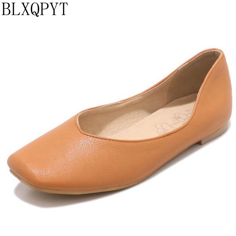 BLXQPYT Plus Large Size 30-50 Fashion Shoes Woman Spring Autumn Shoes Female Ballet Shoes Square Toe Casual Flat Shoes 175 large size 34 47 women s fashion shoes woman flats spring shoes female ballet shoes metal pointed toe solid casual shoes x2