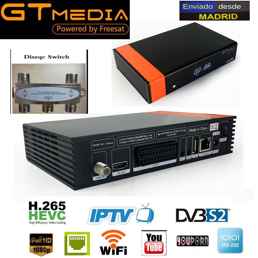 Gtmedia V8 NOVA same as free sat V9 SUPER hevc satellite receiver Builtin wifi support H.265, AVS+ replace frees at V8 super