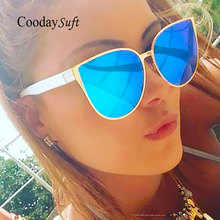 Good Quality Fashion Sunglasses Men Women Mirror Cool Lady Female Trend Coating Sun glasses Cat Eye