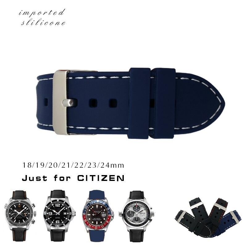 20mm 22mm 24mm Silicone En Caoutchouc Montre Bracelet Boucle Ardillon Mode Sport bande pour Citoyen Longines IWC Montre accessoires