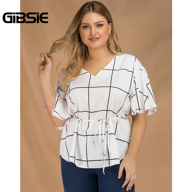 GIBSIE Plus Size Tie Waist Plaid Shirt Top Women 2019 Summer Fashion V-Neck Butterfly Sleeve Casual Ladies Tops and Blouses 3