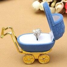 Portable Necklace Box Velvet Stroller Ring Box Jewelry Display Holder Storage Case