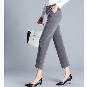 Image 3 - JUJULAND امرأة بنطلون طول الكاحل مستقيم السراويل رقيقة النسيج حجم كبير مكتب سيدة نمط ارتداء عالية الجودة بنطلون 9800