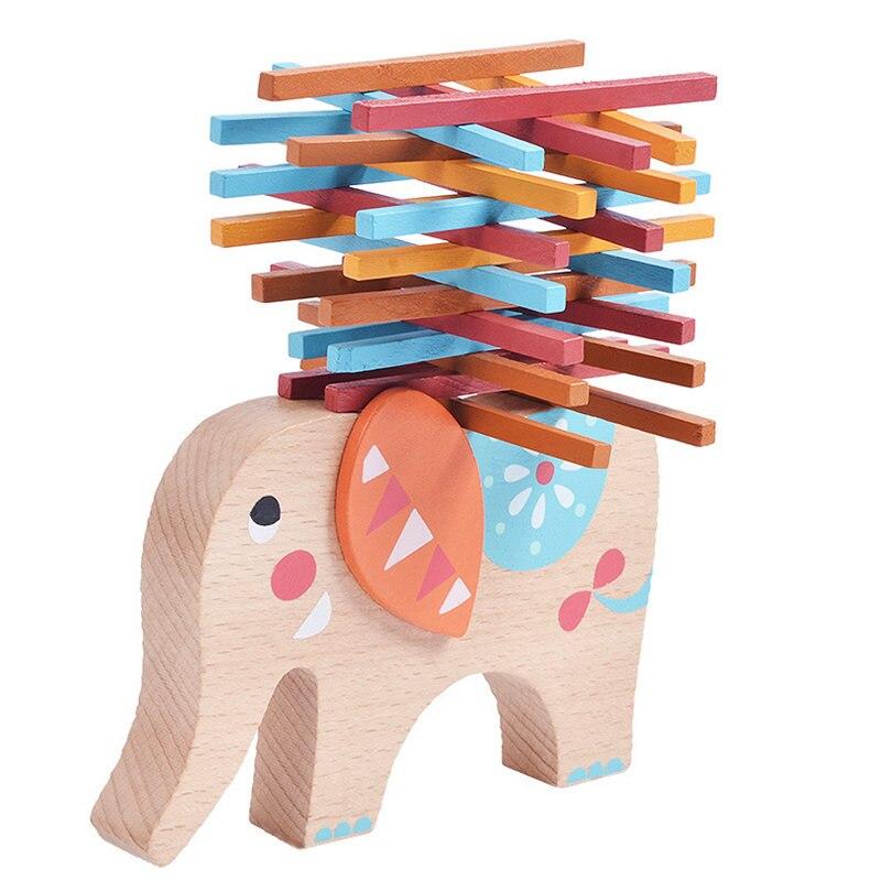 Barn Leksaker Pedagogiska Elefant Balansblock Träleksaker Bok Wood Wood Balance Game Montessori Blocks Gift För Barn Oyuncak
