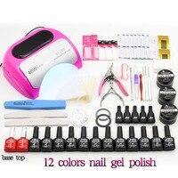 Nail Set UV LED Lamp Nail Dryer 12 Colors Nail Gel Polish Base Top Coat UV