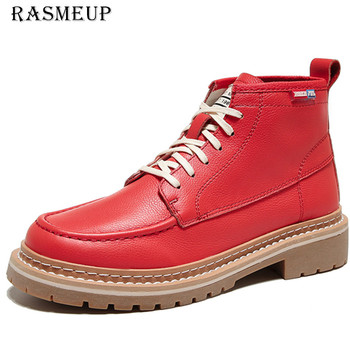 RASMEUP skórzane buty damskie botki kobieta jesień buty zimowe kobieta para buty motocyklowe damskie 'sAnkle buty