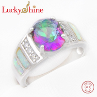 Luckyshine Unique White Fire Opal Opal Gems 925 Sterling Silver Rings For Family Friend Russia USA