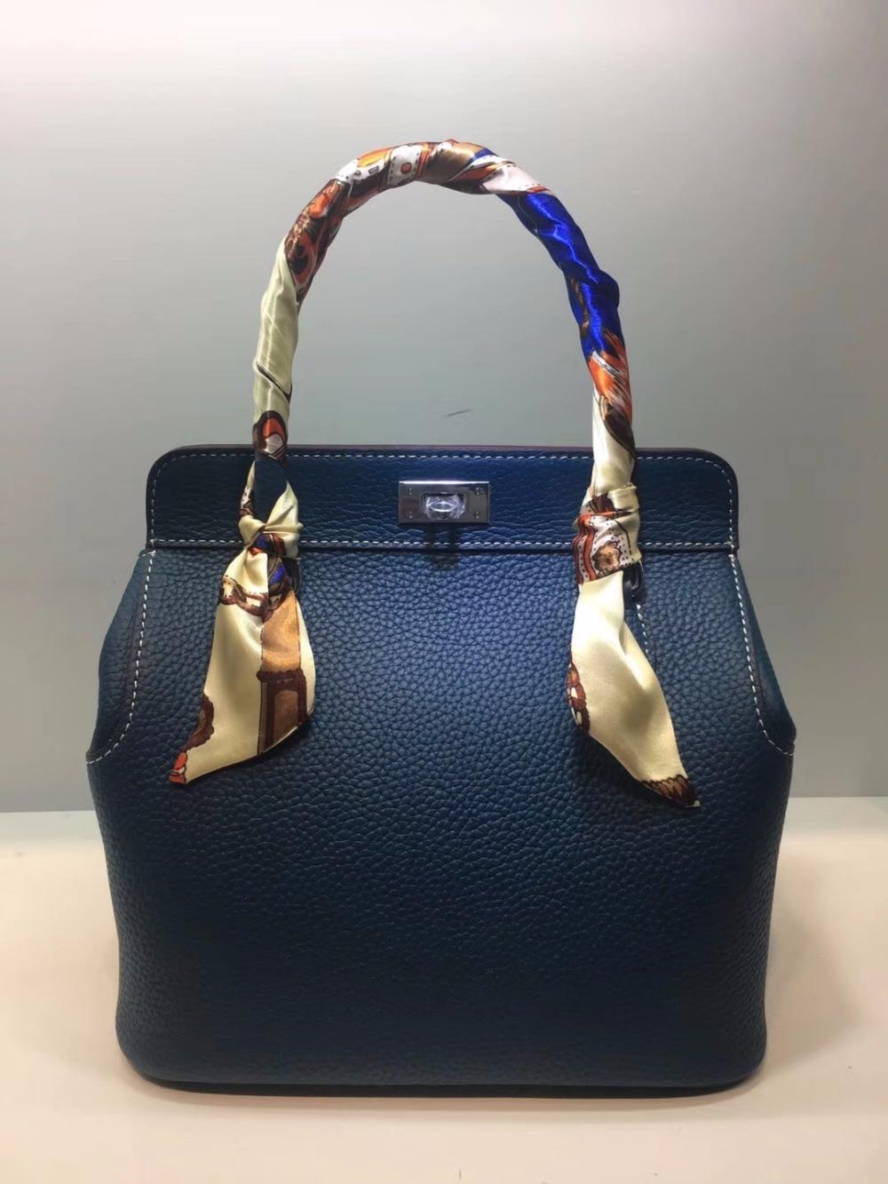 Kafunila 2018 women genuine leather designer brand lock bucket hasp luxury handbags crossbody purse messenger shoulder tote bags цепь champion a043 sg 52e
