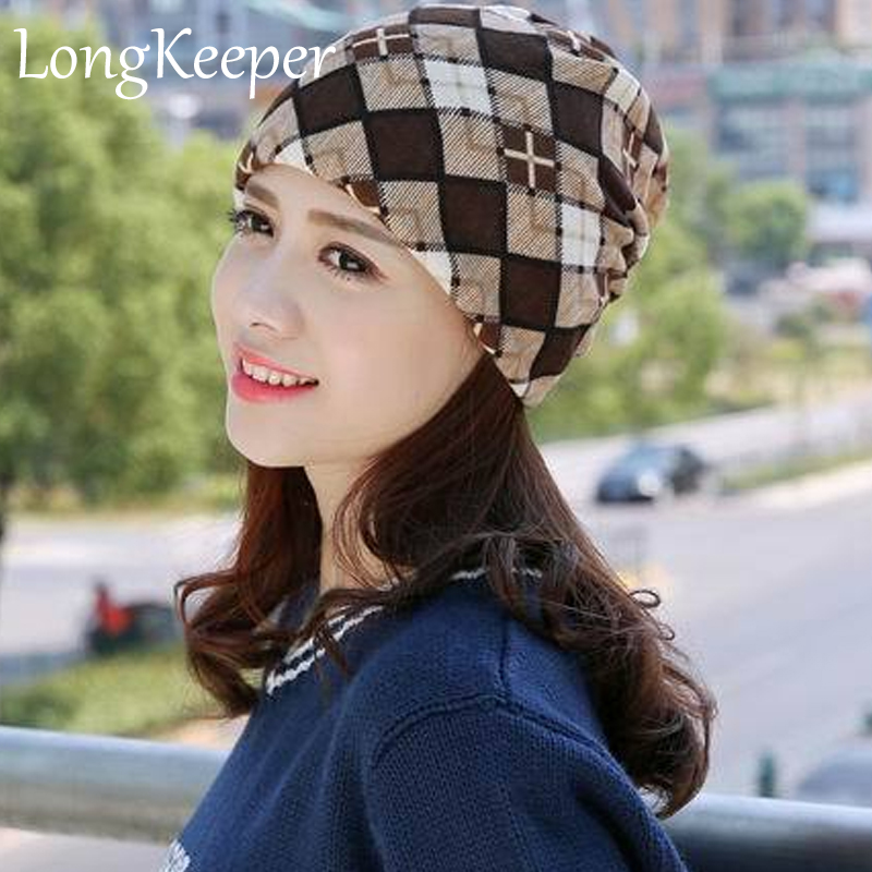 2017 Spring & Autumn Women Snapback Multifunctional Skullies Women's Hat Scarf Print Snow Beanie Cap Women 2017 spring