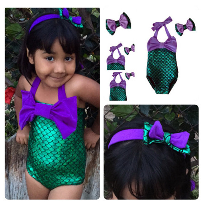 0654fc7fd8be0 2017 new style kids mermaid bathing suit girls swimsuit swimwear headband  children cartoon one piece swimming set baby headwear