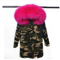RosEvans 2017 New Women Parkas Camouflage Long Jacket Coat Detachable Inner Natural Raccoon Fur Hooded Winter Jacket B283