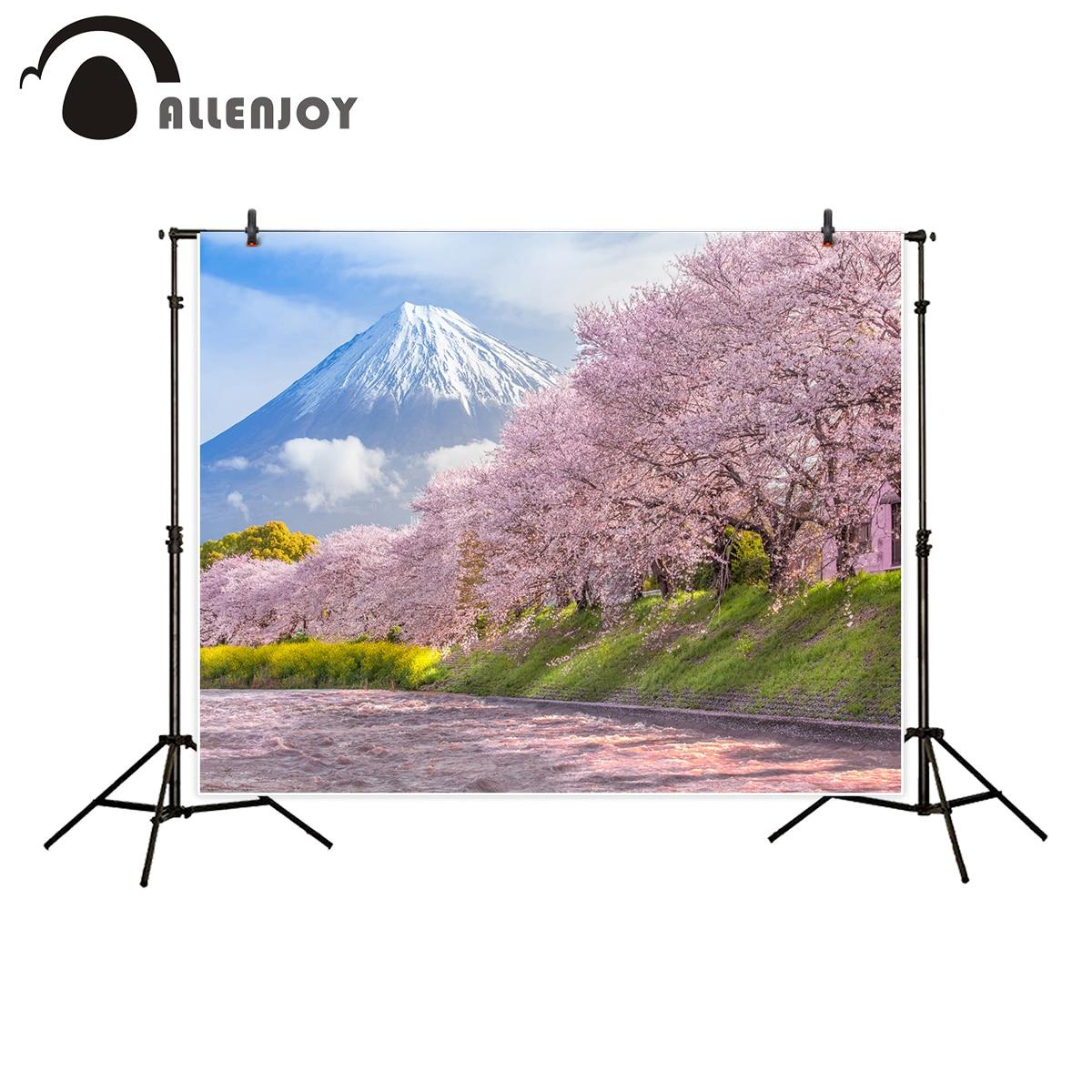 Allenjoy professional photography background beautiful mountain fuji sakura cherry blossom spring backdrop new design photocall
