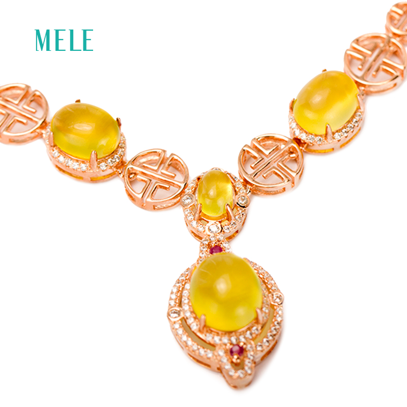 все цены на MELE Natural yellow prehnite silver pendant, big oval 10mm*12mm,and 8mm*10mm, and 5mm*7mm, romantic and royal style, for banquet онлайн