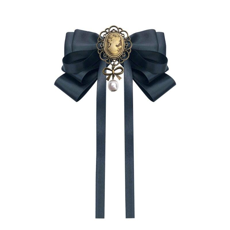 Free Shipping New Fashion Woman Female British College Bow Tie Court Retro Beauty Head Brooch Antique Fabric Pin Shirt Women