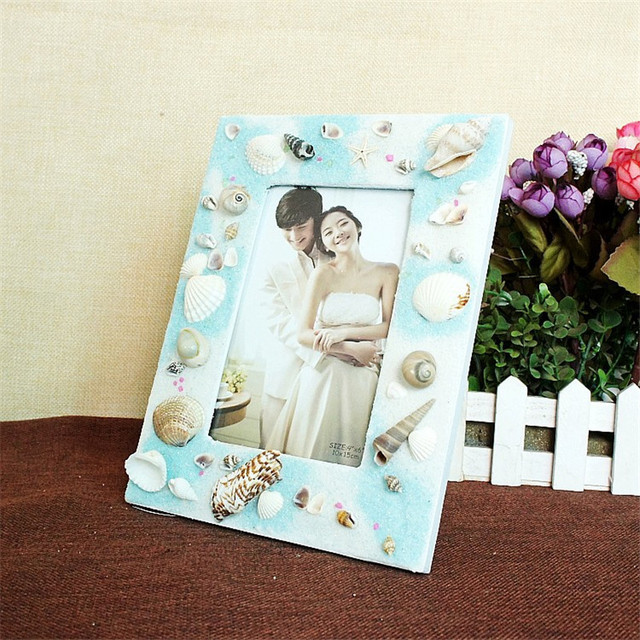 European Wooden Blue Photo Frame Black & White 5 Inch Picture ...