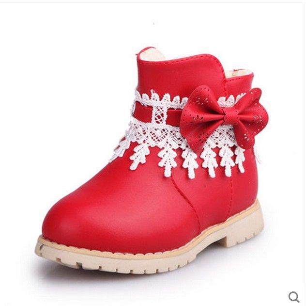 Girls Winter Boots Children Plush Warm Princess Snow Boots Kids Fashion Lace Bowtie Boot ...