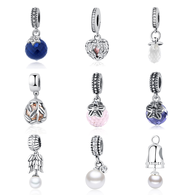 S925 Sterling Silver Shimmering Pacifier Pearls CZ Feather Bell Glass Butterfly Hanging Charms Fit Pandora Bracelet DIY Jewelry