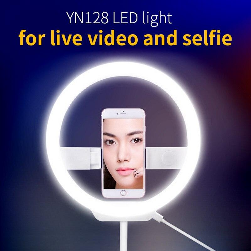 YONGNUO YN128 LED anneau lumière caméra Photo/téléphone/Studio/vidéo 3200 K-5500 K photographie Dimmable anneau lampe