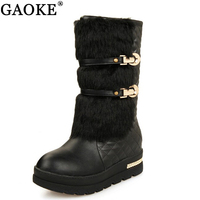 2018 Rabbit Fur Boot Mid Calf Snow Boots Women Round Toe Soft Leather Warm Down Winter