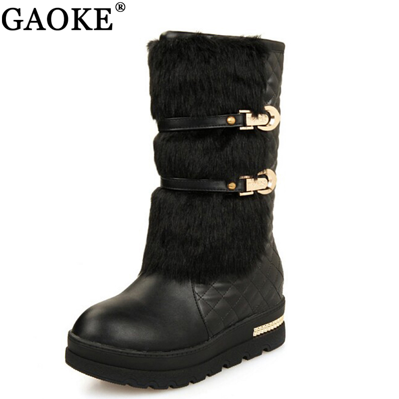 2018 rabbit fur boot mid-calf snow boots women round toe soft leather warm down winter wedge boot ladies winter platform shoes down the rabbit hole
