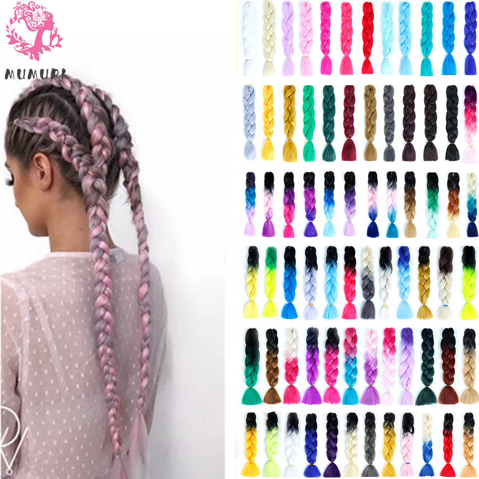 MUMUPI women 24inch Crochet Braids Box Braids 100g/pc Ombre Jumbo Braids Synthetic Braiding Hair Extensions headwear