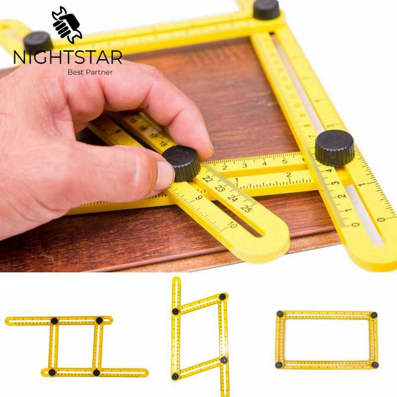 Multi Angle Ruler Template 4 Folding Angle Measuring Tool Instrument Brick Tile Wood Corner Products Foldable Ruler Protractor-in Gauges from Tools