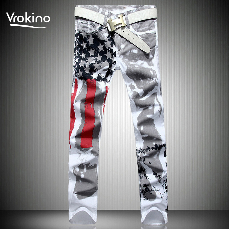 2019 New Listing Large Size 28-42 Men's White Printed Fashion Jeans Leisure Elastic Force National Period Print Jeans