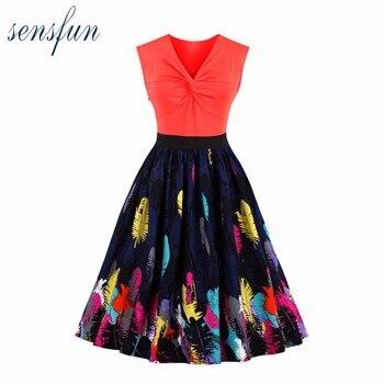 93cd50aaac8 Sensfun летнее платье Для женщин хлопок красный Винтаж платье 1950 60 S  Элегантный Vestidos Одри Хепберн халат Ретро rockabiliy Платья для вечеринок
