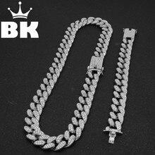 Мужская хип-хоп золотой цвет Iced Out Кристалл Майами кубинская цепь золото серебро ожерелье и браслет набор Лидер продаж хип-хоп KING