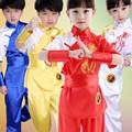 Дети Китайский Традиционный Костюм Ушу Боевые искусства Равномерное Кунг-Фу Костюм для Детей Мальчики Девочки Сценическое Одежда Набор